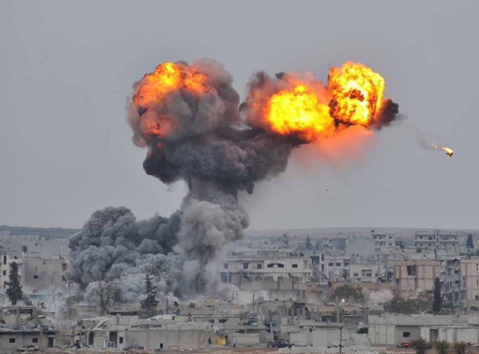 A US air strike on the Isis-held town of Kobani in 2014