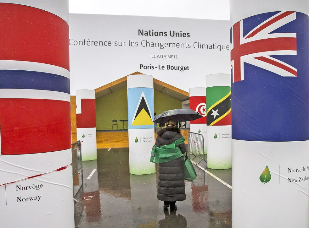 The entrance of the COP21 Climate Conference venue in Le Bourget. Talks will take place from 30 November to 11 December