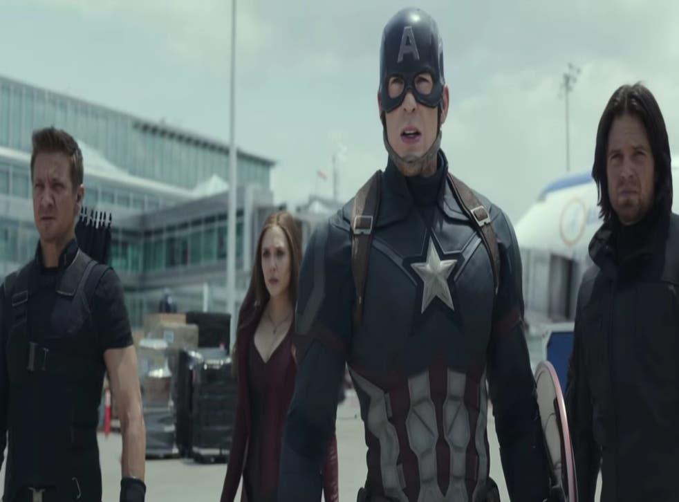 Hawkeye, Scarlett Witch, Captain America and Bucky in Civil War