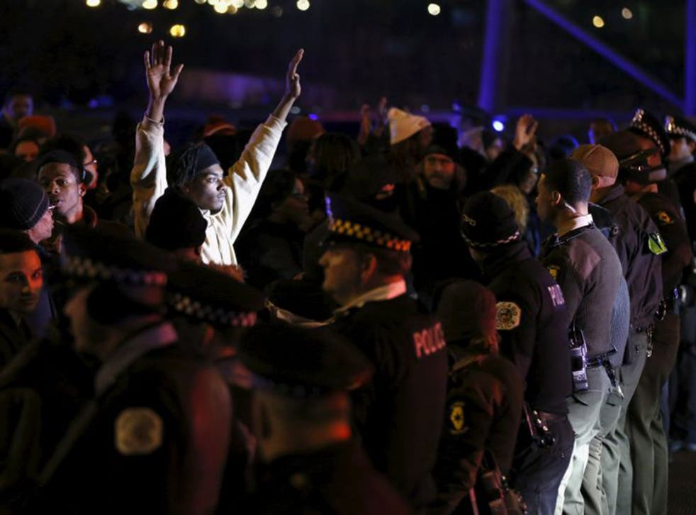 Protesters demonstrate after the release of a video showing the shooting of Laquan McDonald, in Chicago