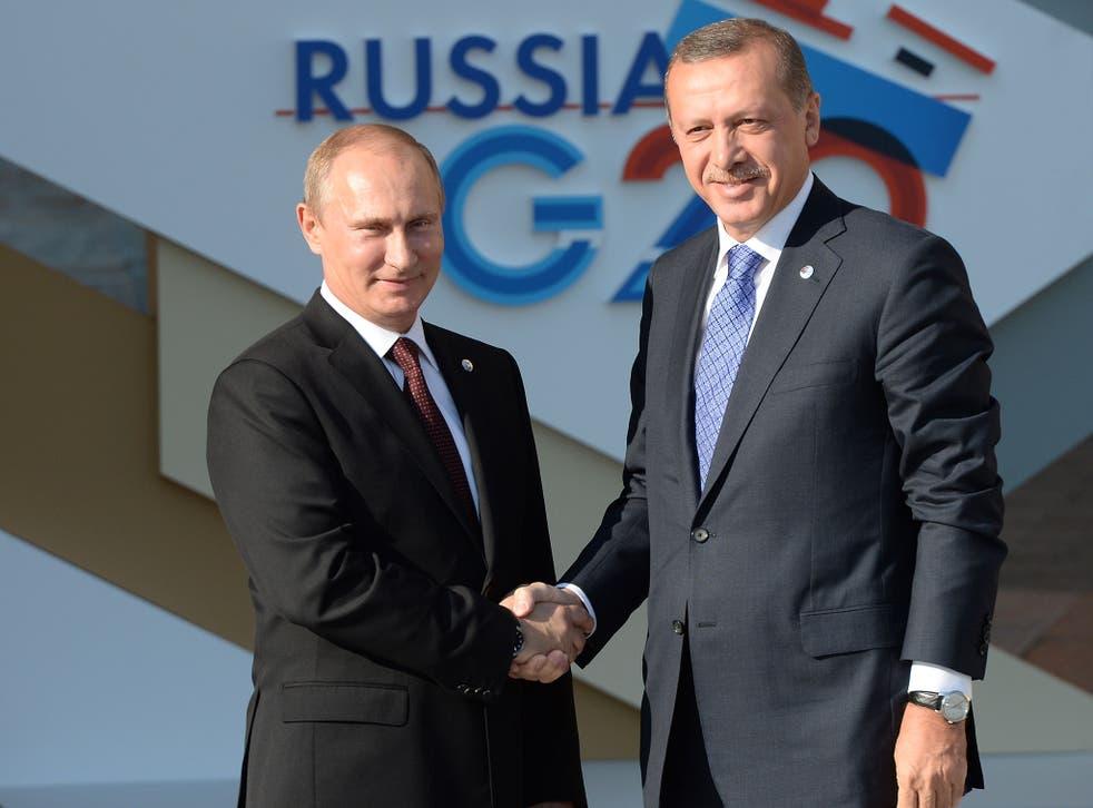 Vladimir Putin and Recep Tayyip Erdogan have previously been close allies