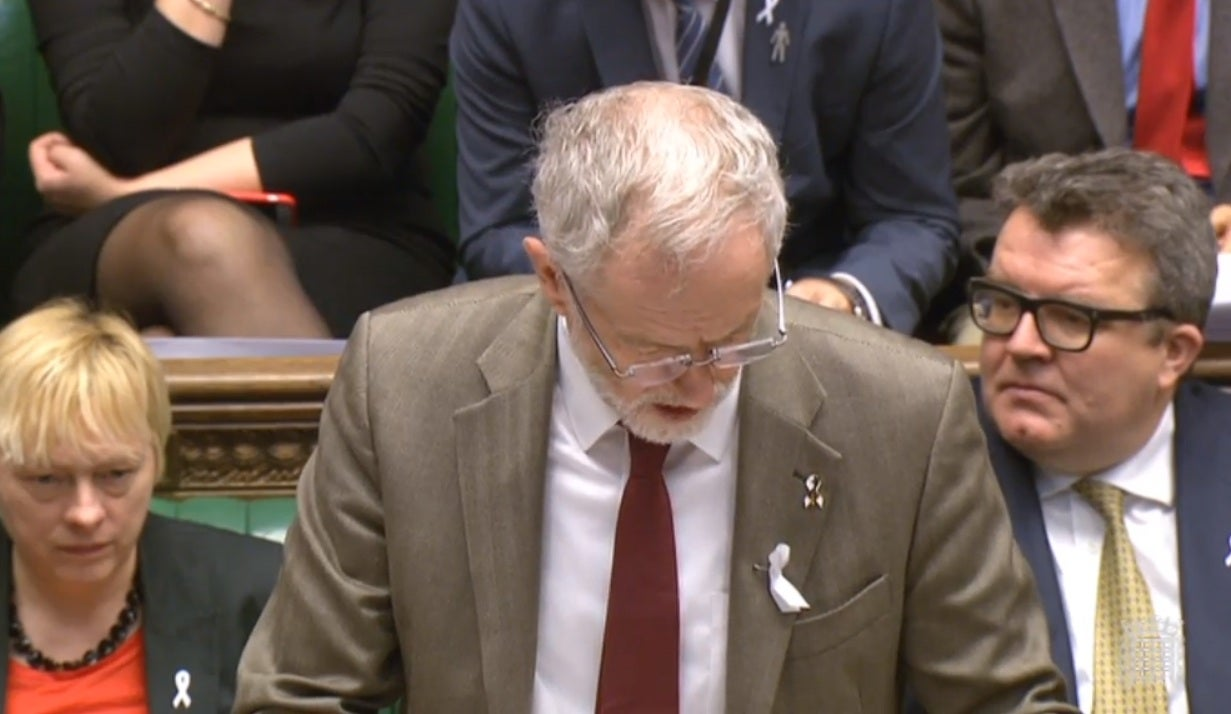 Why Jeremy Corbyn was wearing a white ribbon at Prime Minister's Questions