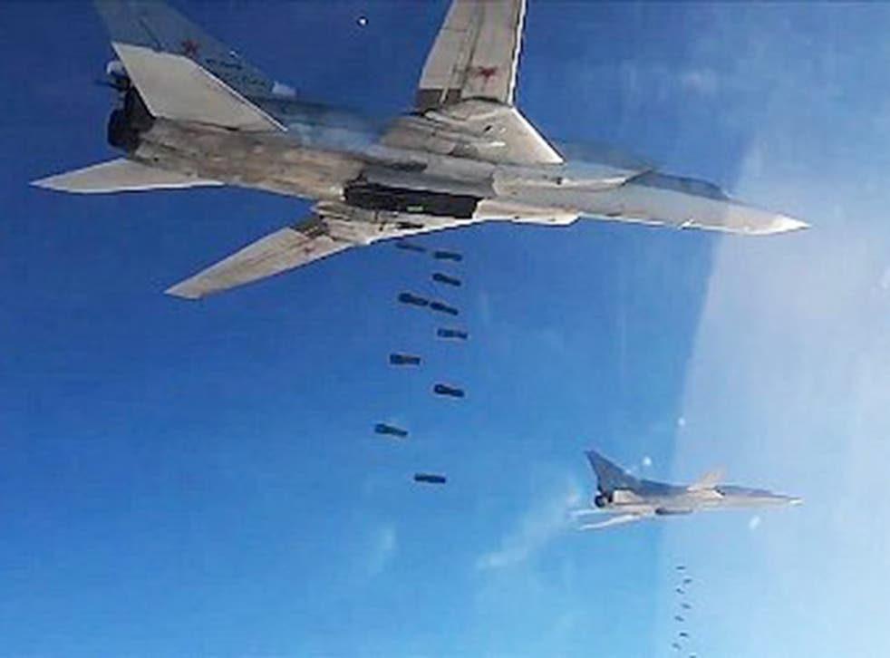 Russian Air Force's Tupolev Tu-22 long-range strategic bombers carry out airstrikes against Isis targets in Syria