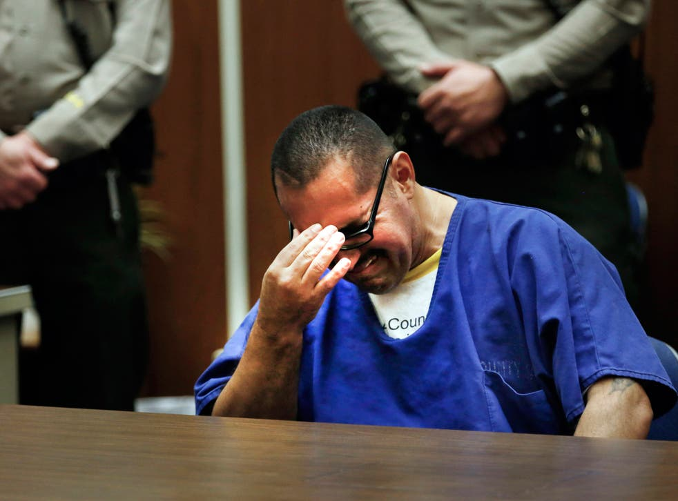 Luis Vargas, who has been in prison for 16 years, breaks down in court.