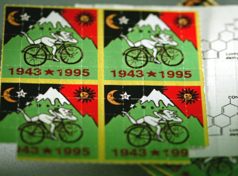 LSD tabs with a design on - each are roughly the size of a postage stamp