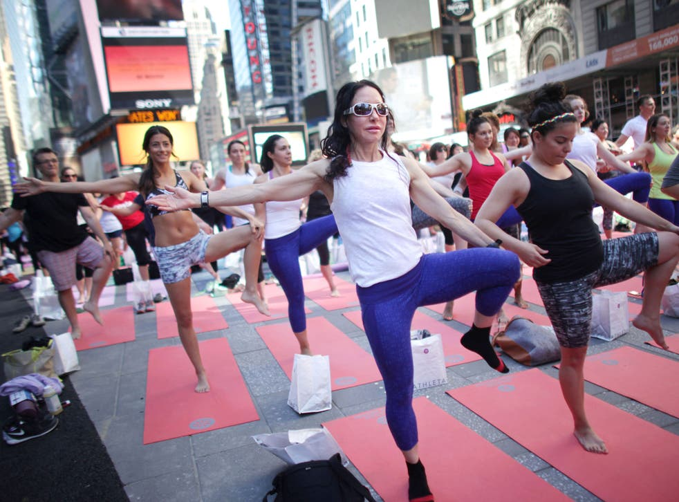 A mass yoga event in Times Square, New York