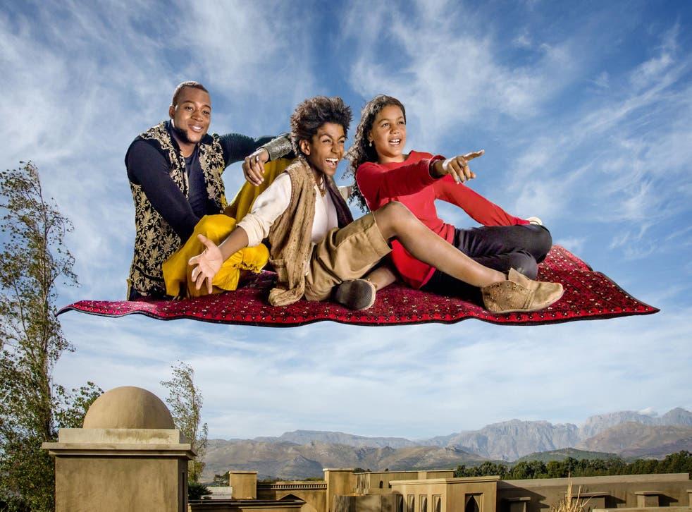 Jamillah (Blossom Campbell), Aladdin (Leroy Osei Bonsu) and Genie (Wilson Radjou-Pujalte) in the new BBC show