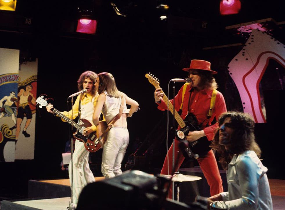 Slade's Jim Lea, Dave Hill, Noddy Holder and Don Powell on 'Top of the Pops' in August 1972