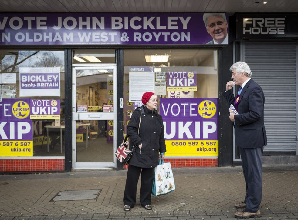 John Bickley canvasses in front of his campaign base