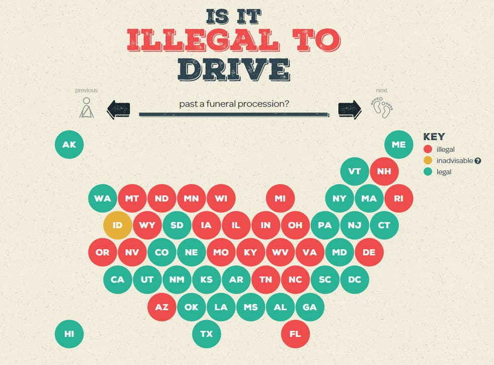 The US states where it is and is not legal to drive past a funeral procession