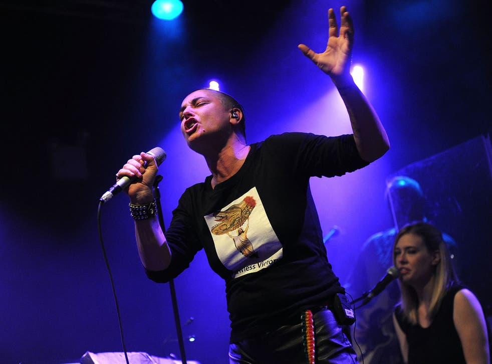 Sinead O'Connor pictured performing