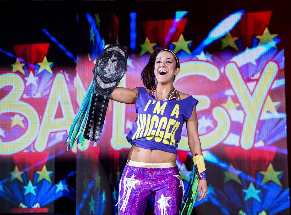 Bayley enters the arena in Glasgow on WWE's most recent tour