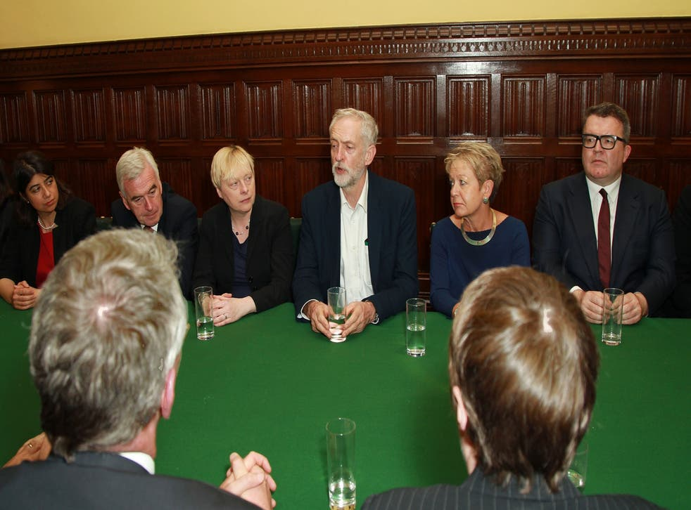 Jeremy Corbyn is flanked by Shadow Business Secretary Angela Eagle (left) and chief whip Rosie Winterton (right) at a meeting of his Shadow Cabinet