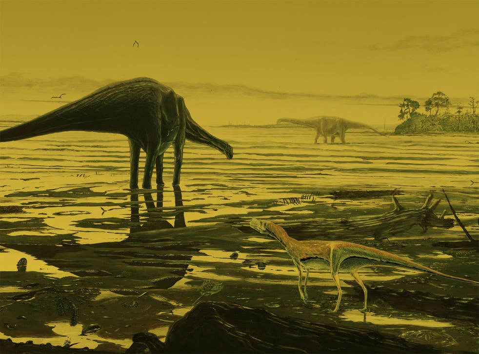An artist's impression of Sauropod dinosaurs on the Isle of Skye