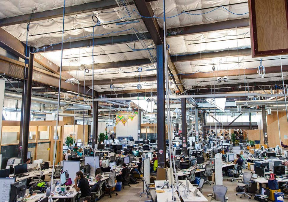 No obstacles: Facebook's open-space headquarters in Menlo Park, California
