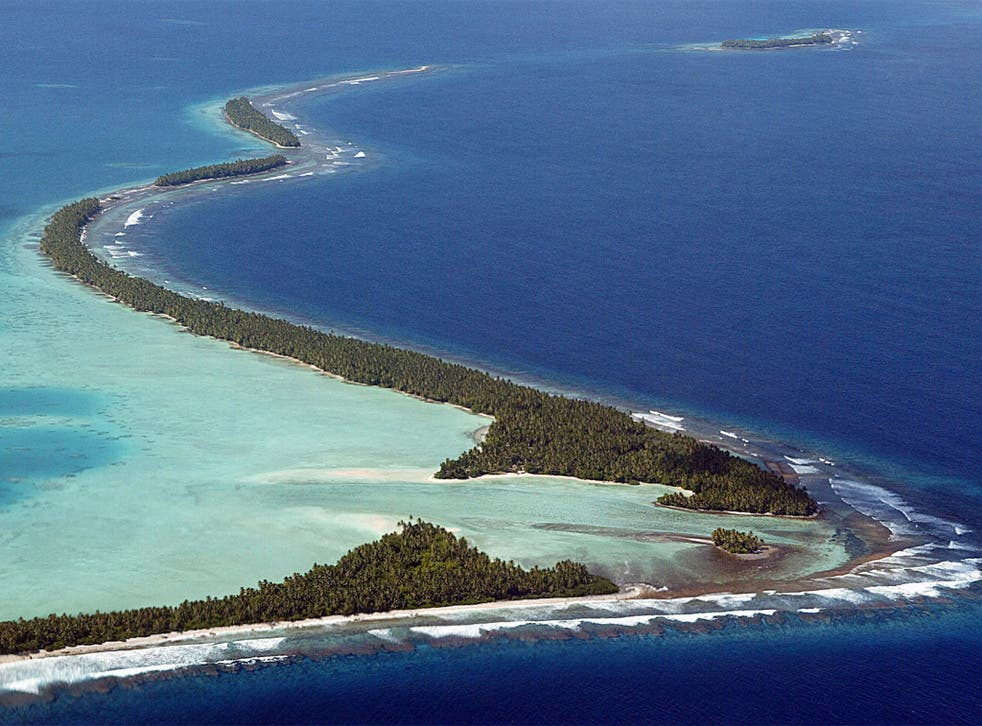 Funafuti atoll, Tuvalu's most populated; the country's population has declined by 15 per cent