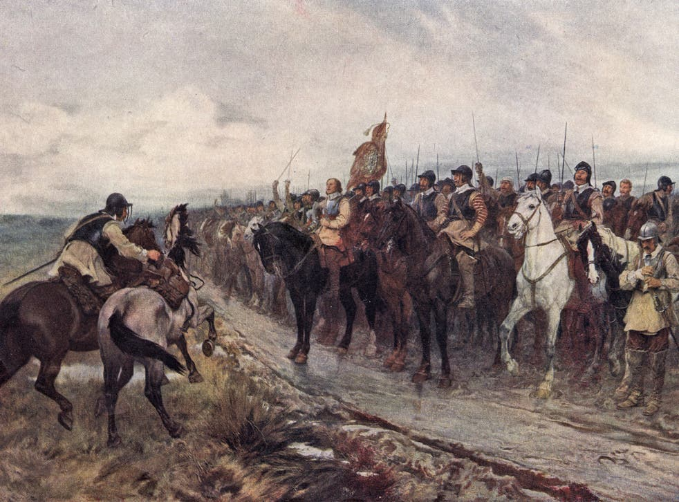 Oliver Cromwell with his men at the battle of Dunbar in 1650, as painted by Andrew Carrick Gow in 1886