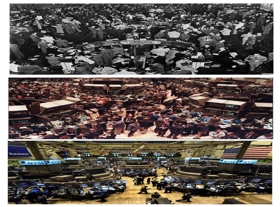 On the floor: the New York Stock exchange over the years, from the middle of the last century (top) to 1987 (middle), when the Dow Jones index dropped more than 500 points in a day, to 2008 (bottom), when it tumbled in the fall-out from the credit crisis