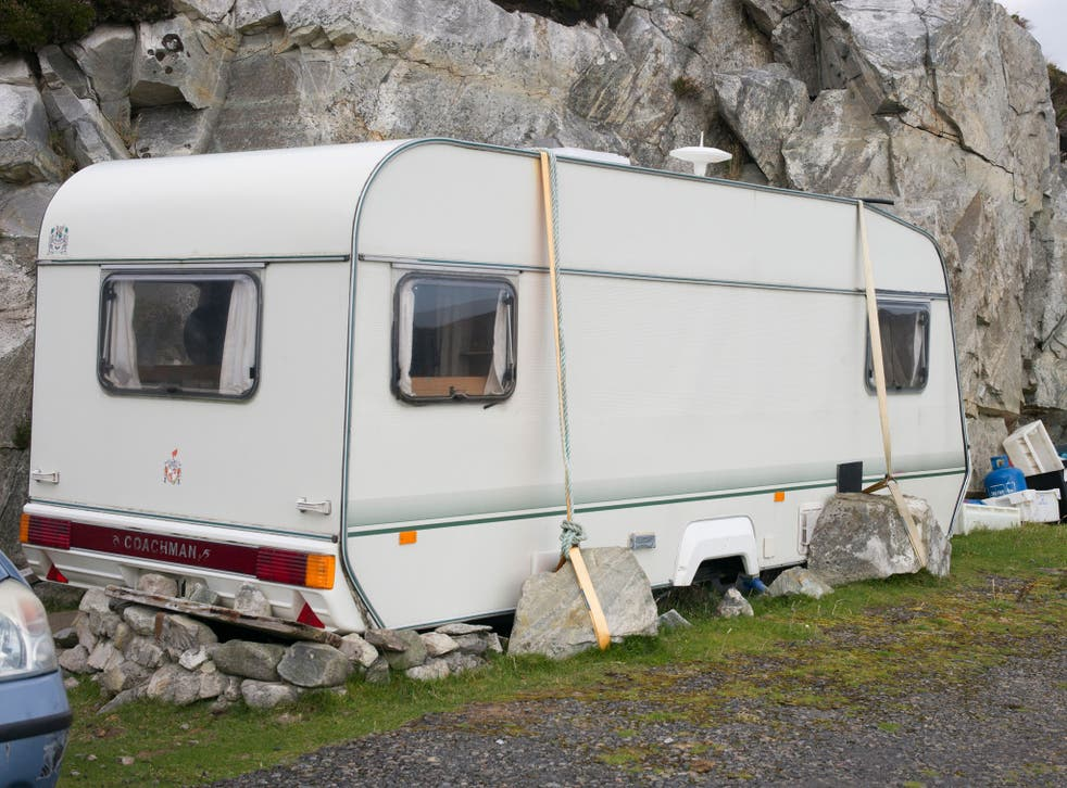 There is eloquent inventiveness in the caravan owner's employment of heavy rocks to stop his vehicle being blown away in storms