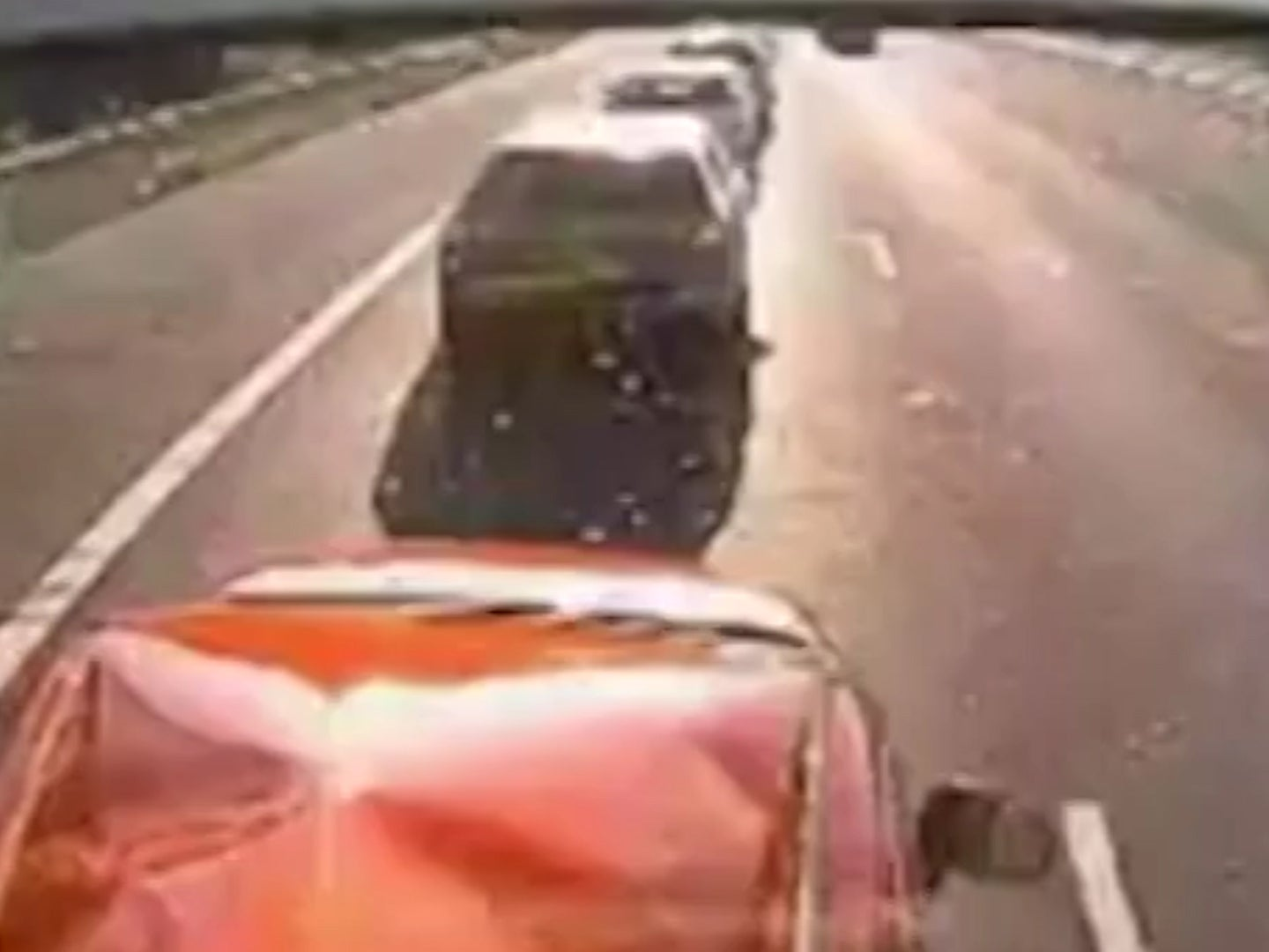 Dashcam footage shows distracted HGV driver crash into stationary cars,  killing one | The Independent