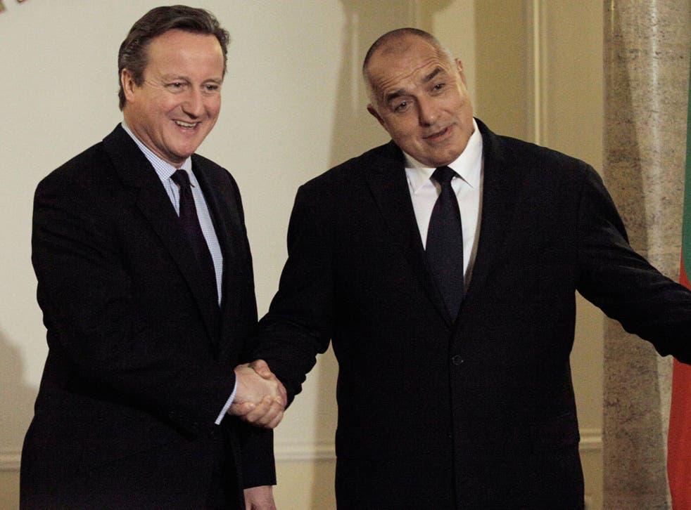 David Cameron, with the Bulgarian Prime Minister Boyko Borisov, in Sofia