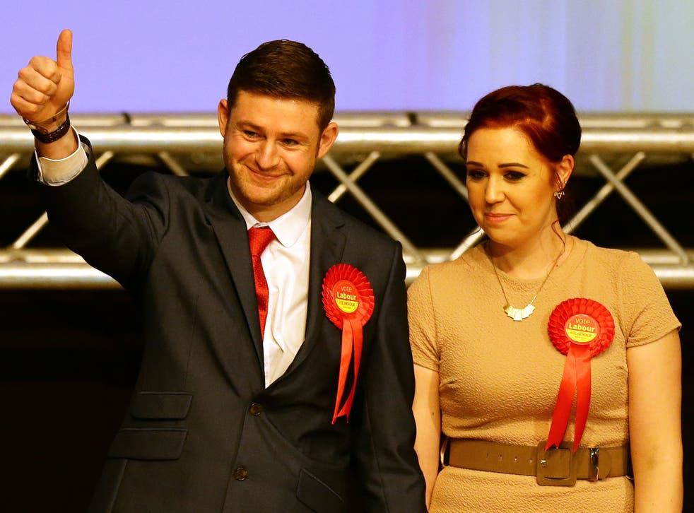 Victorious Labour candidate Jim McMahon with his partner Charlene after winning the Oldham West and Royton by-election