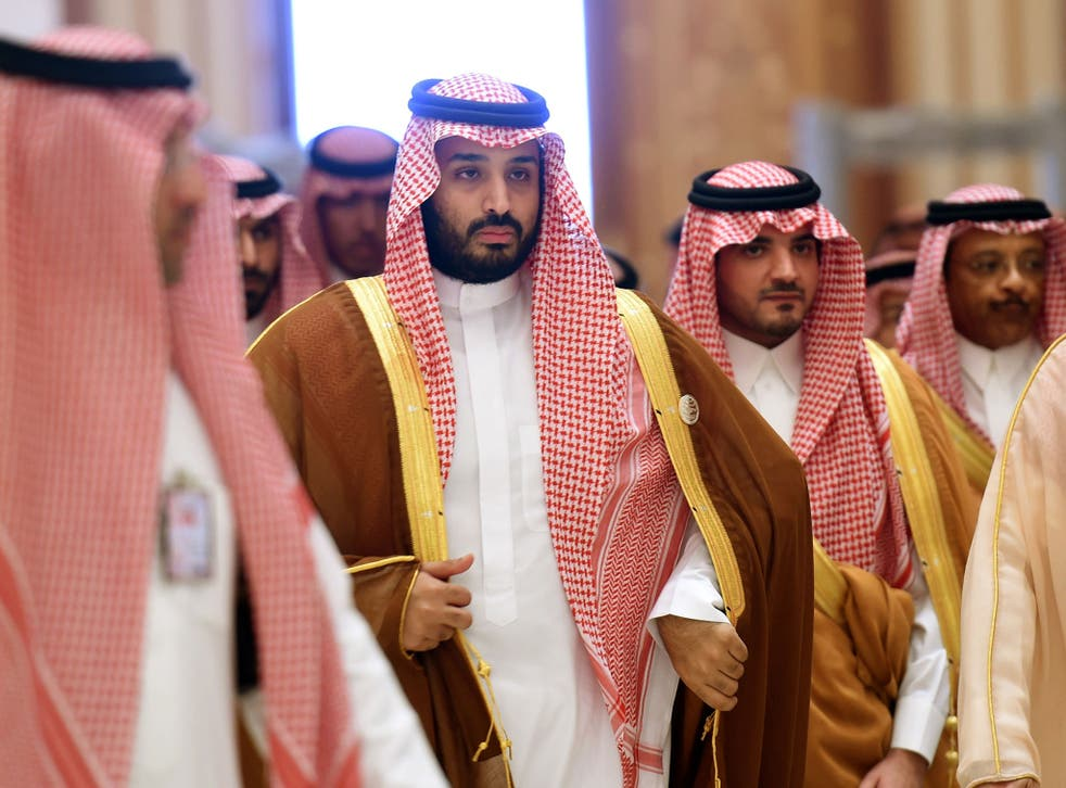 Saudi Defence Minister Mohammed bin Salman (2nd L), who is the desert kingdom's deputy crown prince and second-in-line to the throne, arrives at the closing session of the 4th Summit of Arab States and South American countries held in the Saudi capital Riyadh, on 11 November, 2015