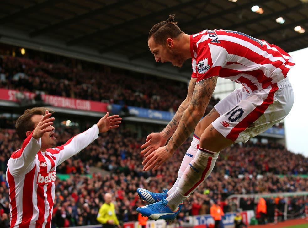 Stoke forward Marko Arnautovic celebrates after scoring against Manchester City