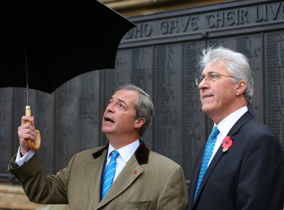 Ukip leader Nigel Farage, left, with Oldham West candidate John Bickley, who lost out to Labour's Jim McMahon in the by-election
