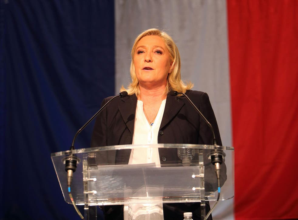 French Far-Right National Front President Marine Le Pen during her speech after the announcement of the results of the first round of the regional election