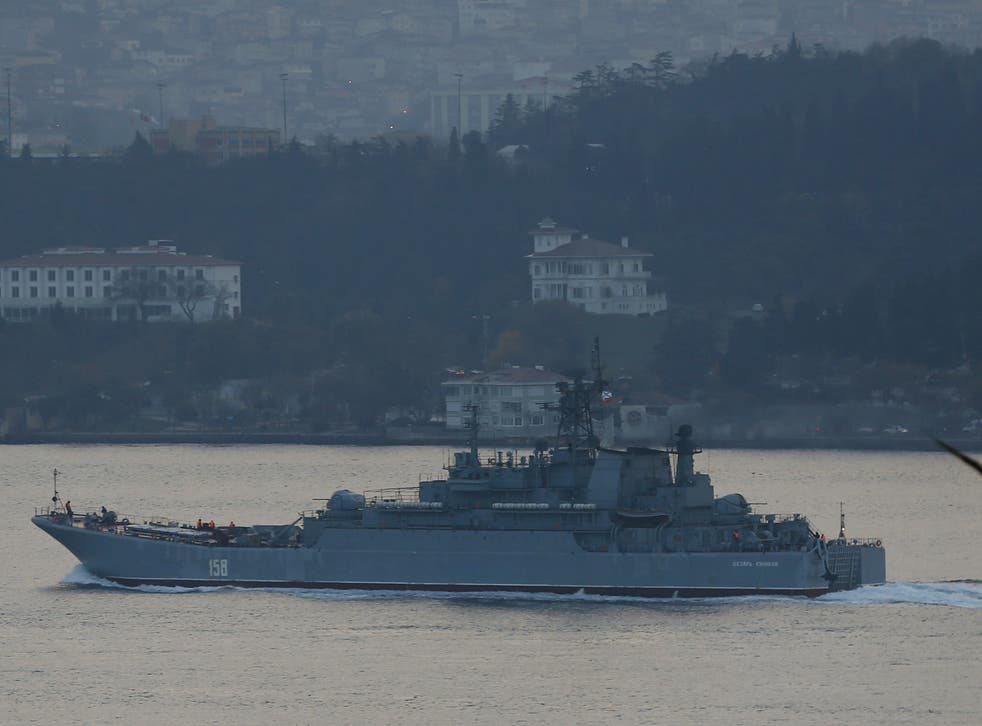 File: Image of the Russian naval vessel involved in a row with Turkey over a 'rocket launcher-wielding' serviceman in early December