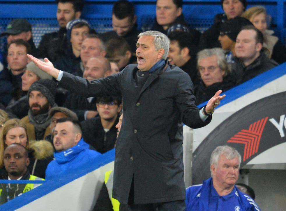 Chelsea manager Jose Mourinho gestures during the defeat by Bournemouth