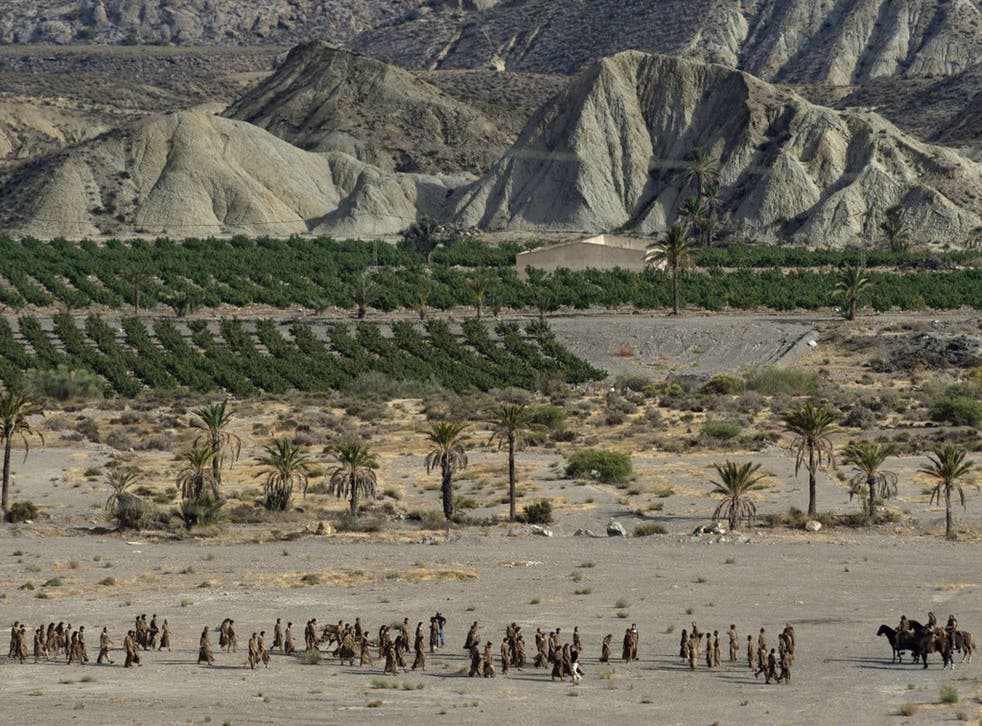 'Game of Thrones' actors and extras near the village of Pechina, in Almeria province, where part of the show's sixth season is being filmed