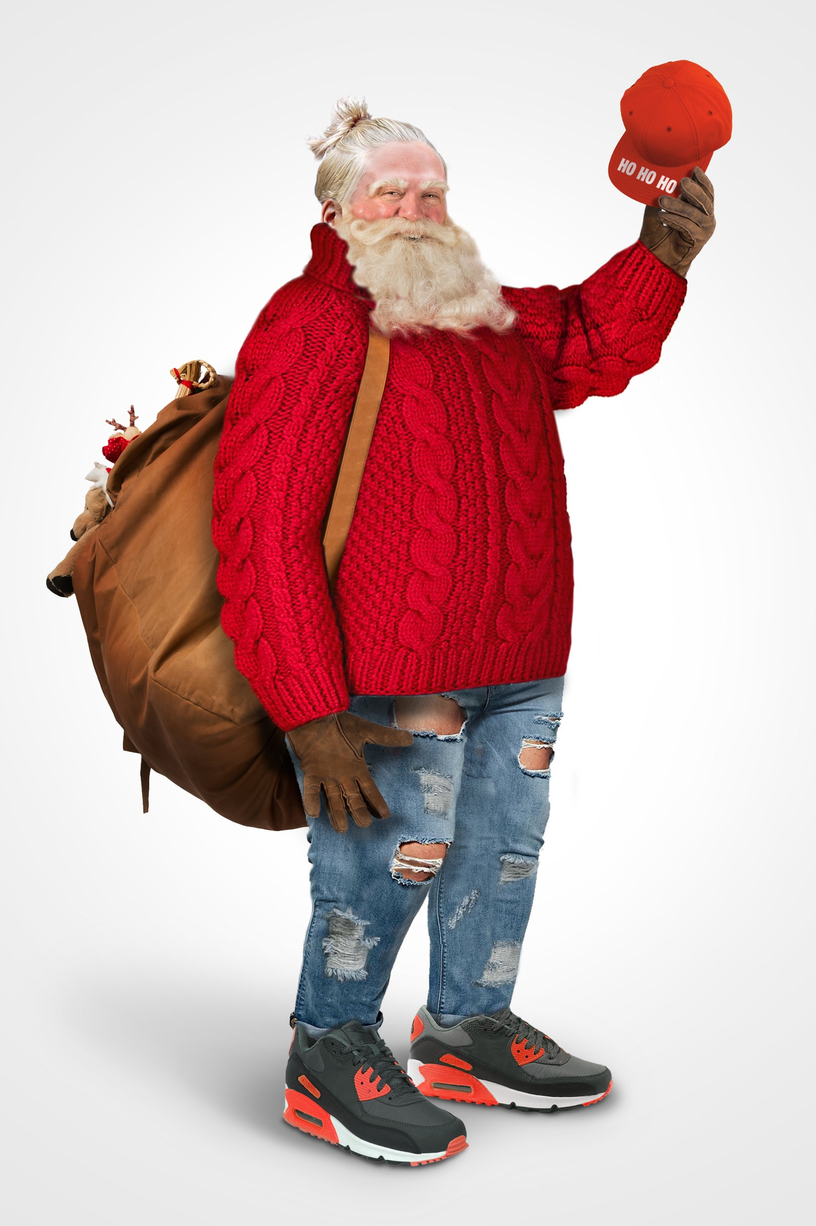 a modern santa would wear a man bun ripped jeans and trainers