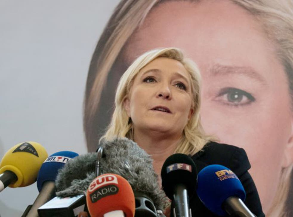 FN leader Marine Le Pen in Lille on Monday after the first round of French regional elections