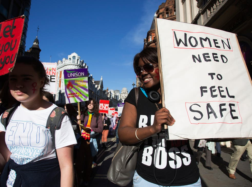 Participants in the Million Women Rise march earlier this year. MWR is a women-only march and rally combatting male violence against women, held annually in London close to International Women's Day