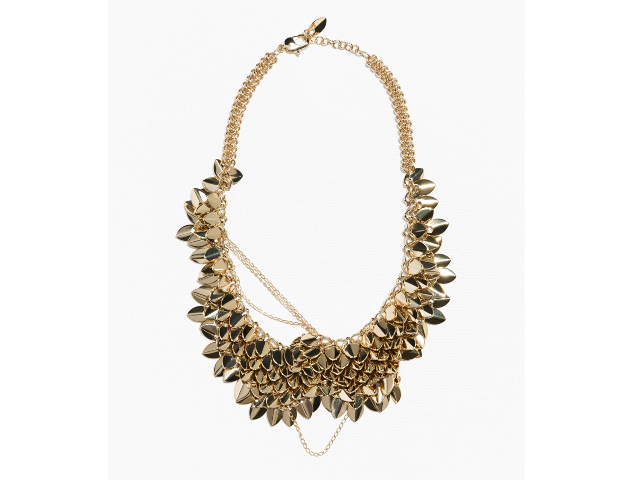 70c441b65f059 River Gem Gold and White Statement Necklace