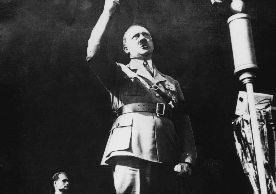 Adolf Hitler addresses a crowd at a rally in 1941