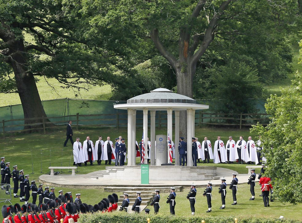 Leading the way... British soldiers join a parade to mark the 800th anniversary of the Magna Carta