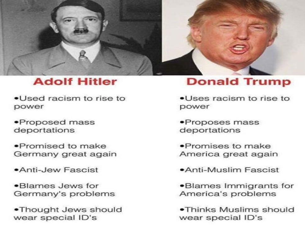 Donald Trump compared to Adolf Hitler after 'complete shutdown of Muslims'  comments | The Independent | The Independent