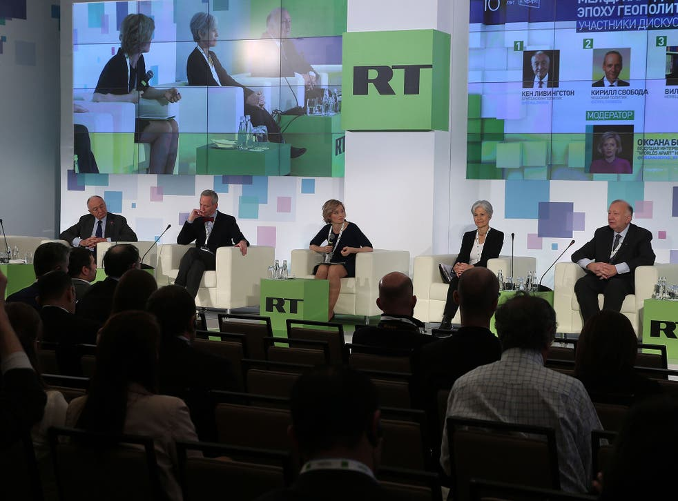 Ken Livingstone, far left, at the Russia Today conference in Moscow on Thursday