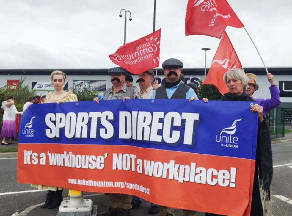 Campaigners in Victorian dress protest outside Sports Direct's annual meeting in September against its use of zero-hours contracts