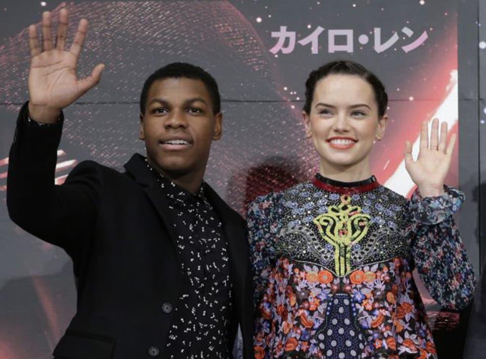 John Boyega, who plays Finn, and Daisy Ridley, who plays Rey