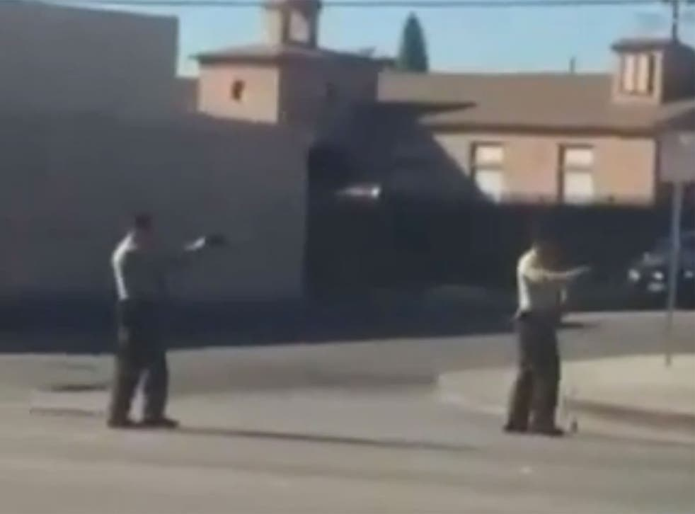Still from a video purporting to show the shooting of a suspect by police in LA