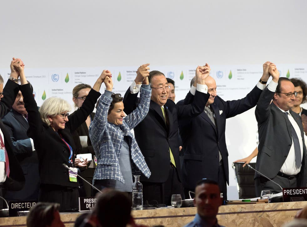 Politicians and officials who negotiated the Paris Agreement on climate change jumped for joy and clapped each other on the back after the deal was done