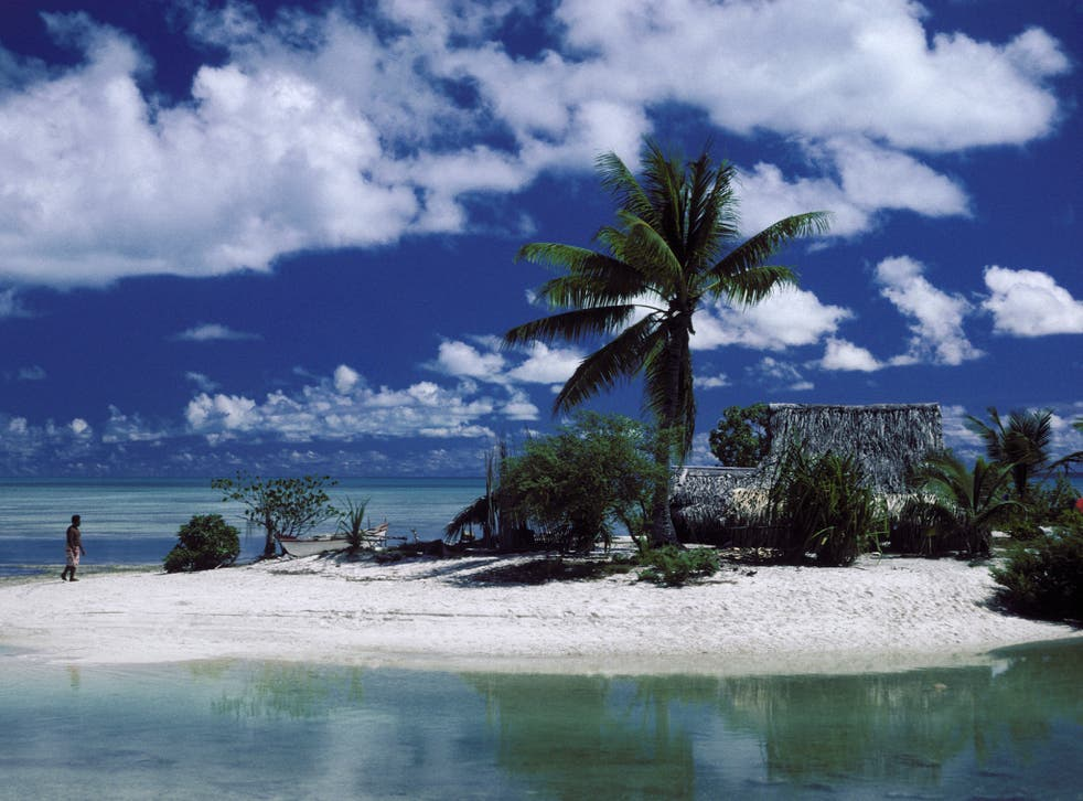 An islet on the Tarawa atoll of Kiribati. The Pacific nation lies an average 2m above sea level
