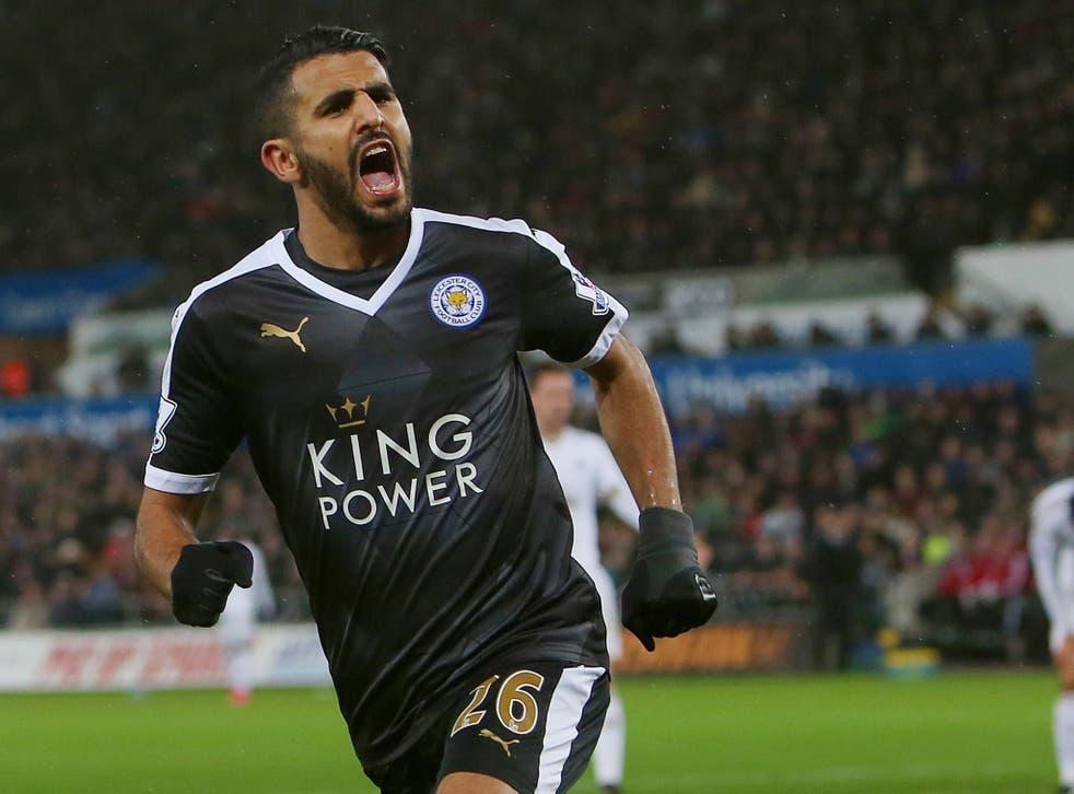 Riyad Mahrez celebrates scoring a goal for Leicester