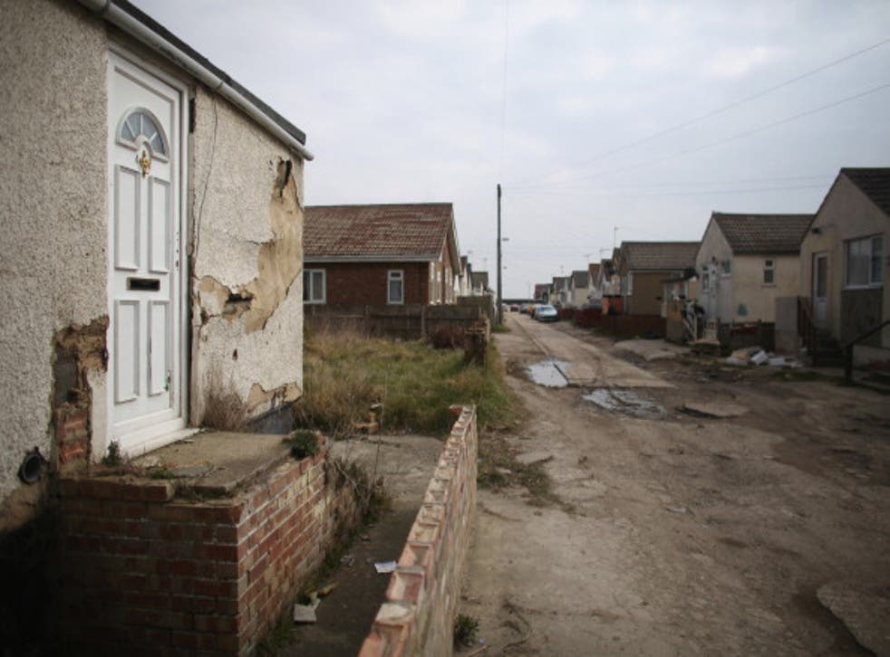 A general view of dilapidated properties in the seaside town of East Jaywick, the most deprived place in England
