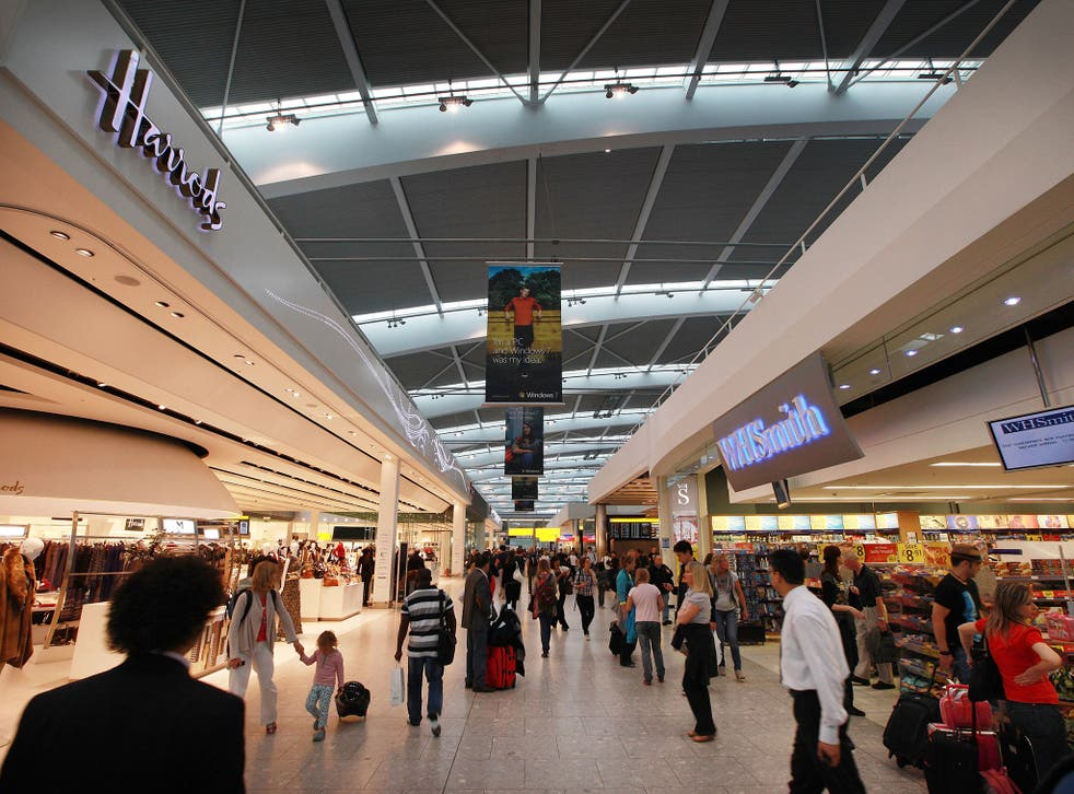 The man cut himself near the departure lounges of Heathrow Terminal 5 at 5.45pm on Wednesday