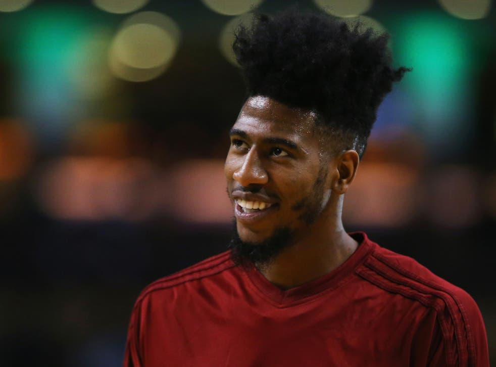 <p>Iman Shumpert of the Cleveland Cavaliers looks on during warmups before the game against the Boston Celtics</p>